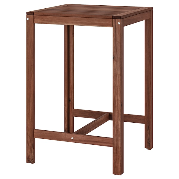 Ikea Bar stool with backrest,in and  outdoor use,ÄPPLARÖ Brown stained,Wooden