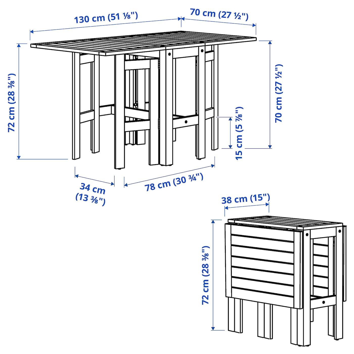 Applaro Gateleg Table Outdoor Brown Stained 34 83 131x70 Cm Ikea