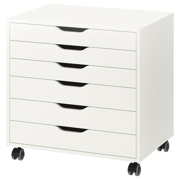 ALEX Drawer unit on castors, white, 67x66 cm