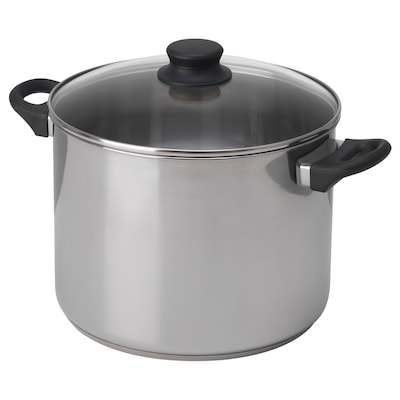ANNONS Pot with lid, glass/stainless steel, 10 l