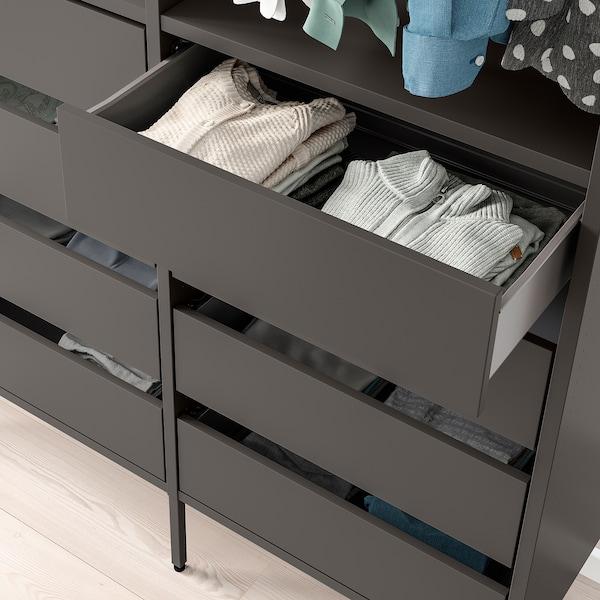 AURDAL Wardrobe combination, dark grey, 125x40x221 cm