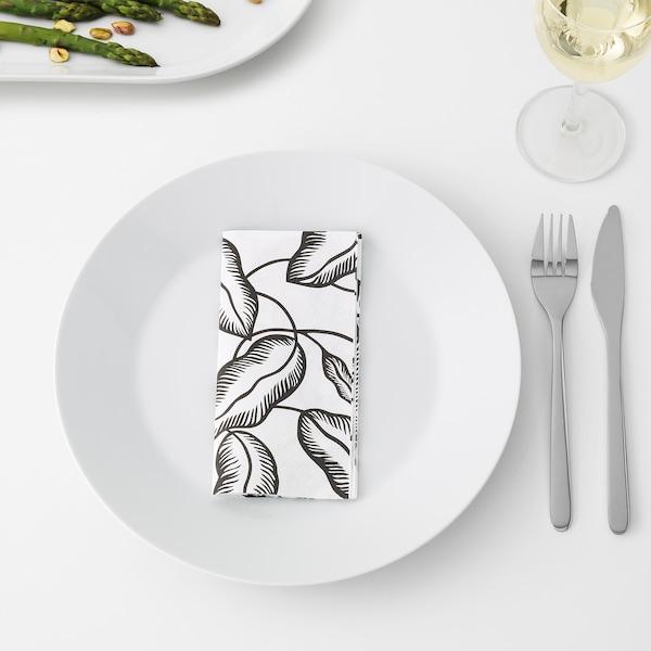 AVSIKTLIG Paper napkin, white/black leaves, 33x33 cm