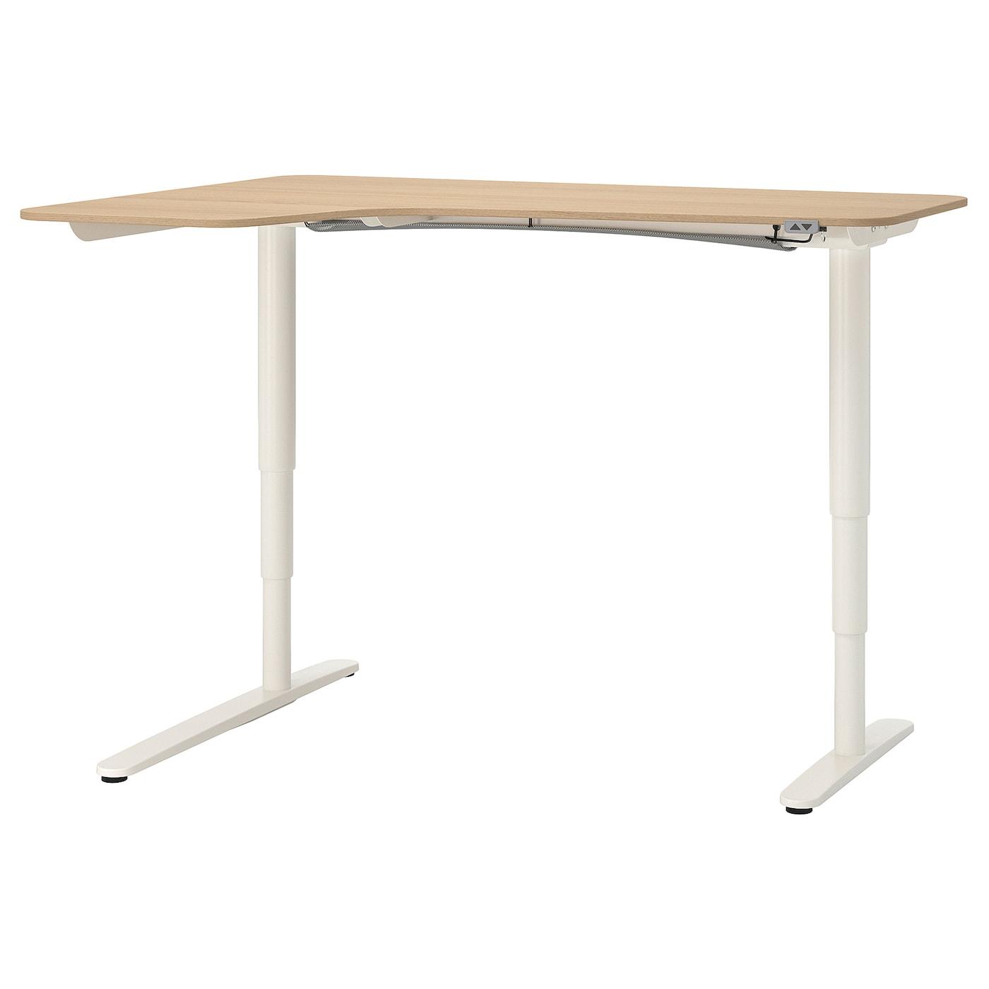 Bekant Corner Desk Left Sit Stand White Stained Oak Veneer White Ikea