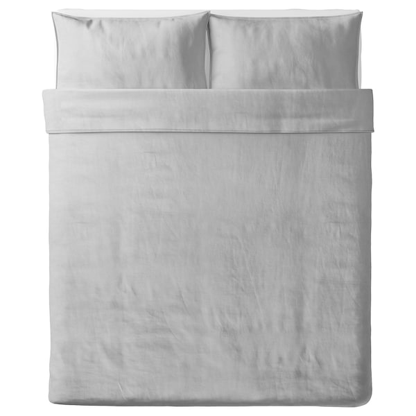 BERGPALM Duvet cover and pillowcase(s), grey/stripe, Full/Queen (Double/Queen)