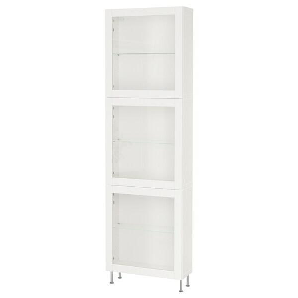 BESTÅ Storage combination w glass doors, white/Sindvik/Stallarp white clear glass, 60x22x202 cm