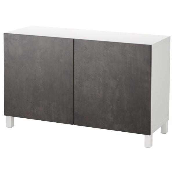BESTÅ Storage combination with doors, white Kallviken/Stubbarp/dark grey concrete effect, 120x42x74 cm