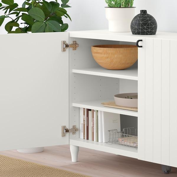 BESTÅ Storage combination with doors, white/Sutterviken/Kabbarp white, 120x42x74 cm