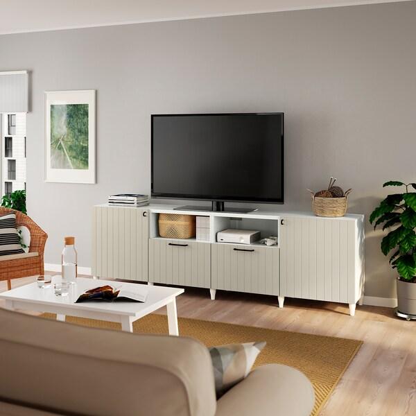 BESTÅ TV bench with doors and drawers, white/Sutterviken/Kabbarp grey-beige, 240x42x74 cm