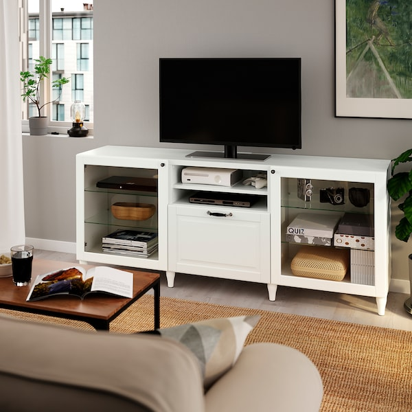 BESTÅ TV bench with drawers, white/Smeviken/Kabbarp white clear glass, 180x42x74 cm