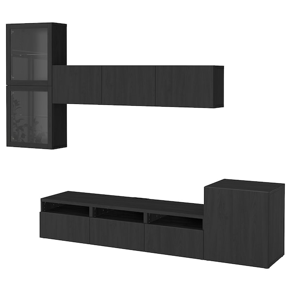 BESTÅ TV storage combination/glass doors, black-brown/Lappviken black-brown clear glass, 300x42x211 cm