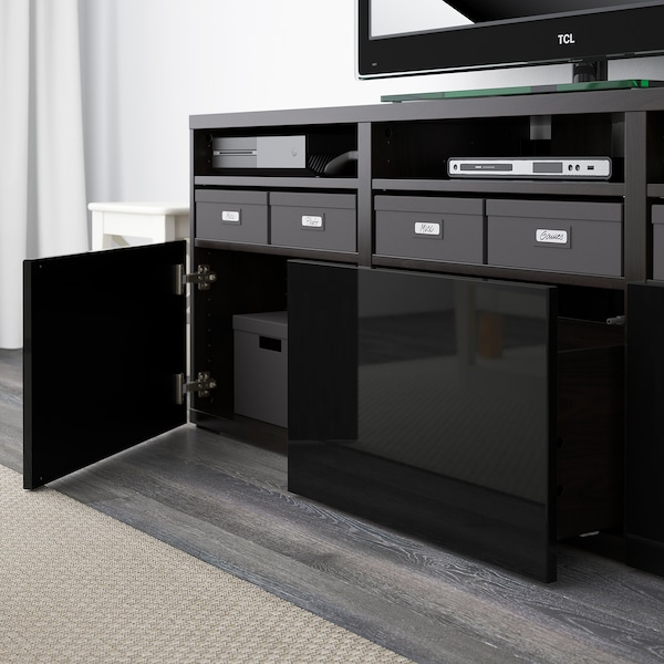 BESTÅ TV storage combination/glass doors, black-brown/Selsviken high-gloss/black smoked glass, 180x40x192 cm