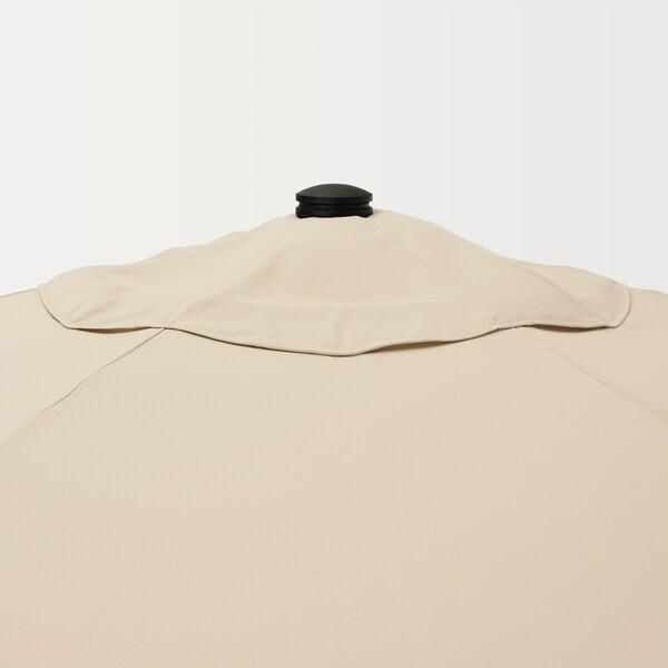 BETSÖ / VÅRHOLMEN Parasol with base, brown wood effect beige/Grytö, 300 cm