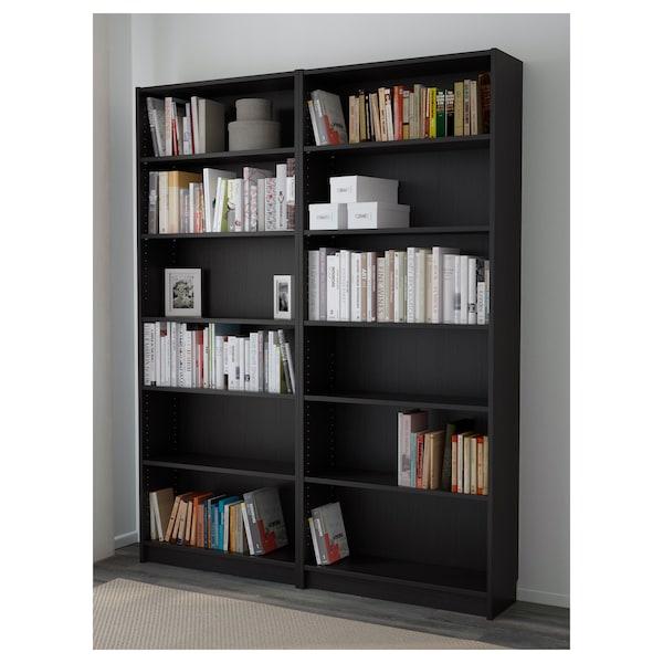 BILLY Bookcase, black-brown, 160x28x202 cm