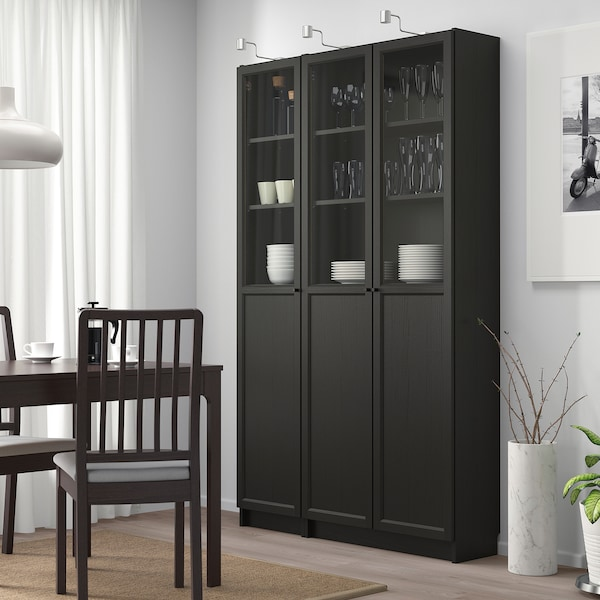 BILLY / OXBERG Bookcase with panel/glass doors, black-brown/glass, 120x30x202 cm
