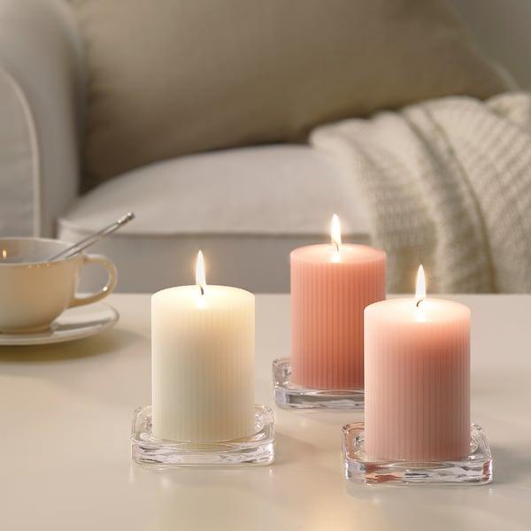 BLOMDOFT Scented block candle, Sweet pea/light orange, 10 cm