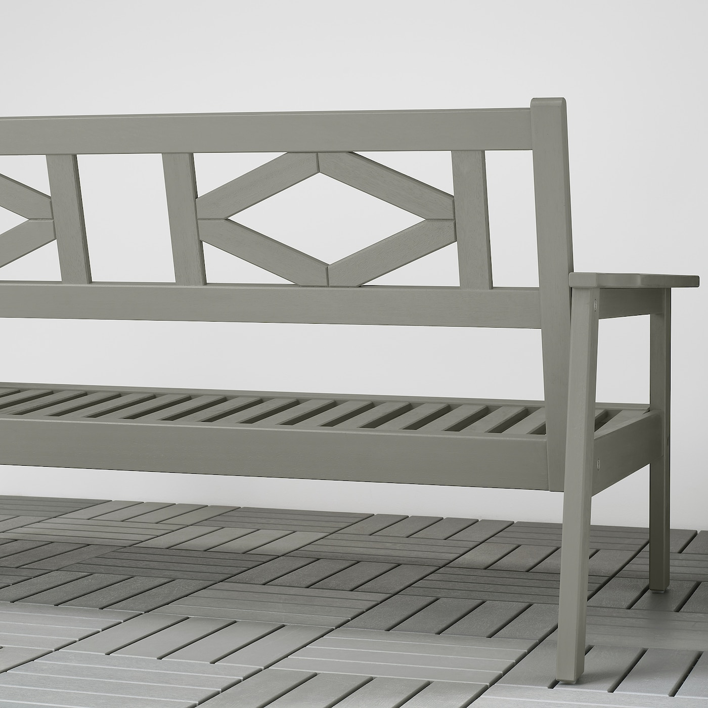 BONDHOLMEN 2-seat sofa, outdoor, grey stained/Frösön/Duvholmen dark grey