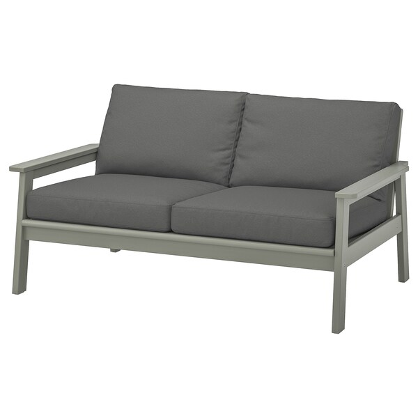 BONDHOLMEN 2-seat sofa, outdoor, grey stained/Frösön/Duvholmen dark grey