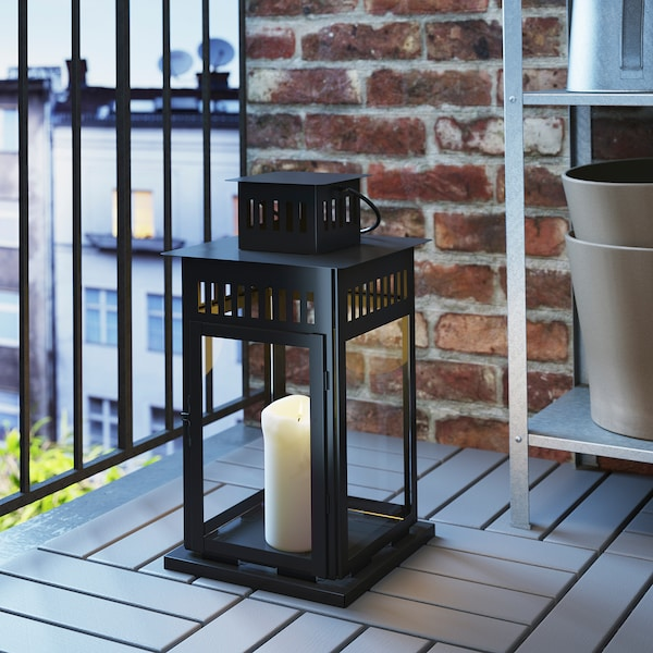BORRBY Lantern for block candle, in/outdoor black, 44 cm