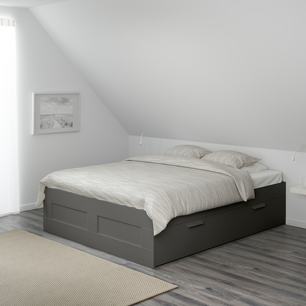 BRIMNES Bed frame with storage, grey, Full