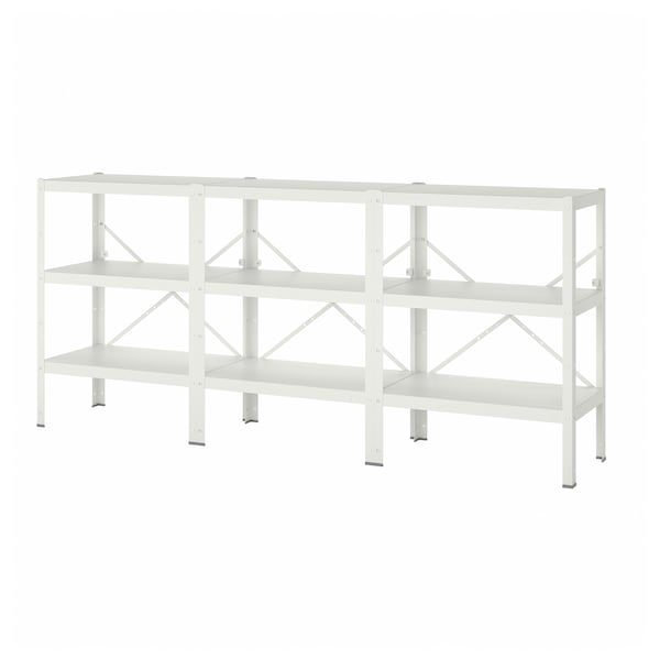 BROR 3 sections/shelves, white, 254x40x110 cm