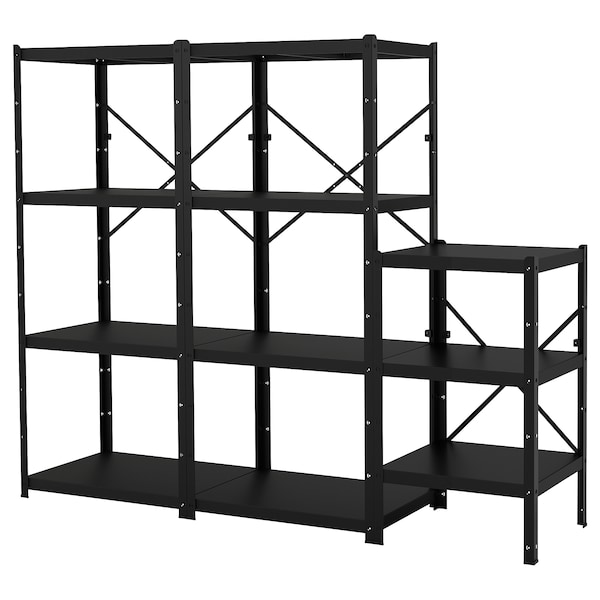 BROR Shelving unit, black, 234x55x190 cm
