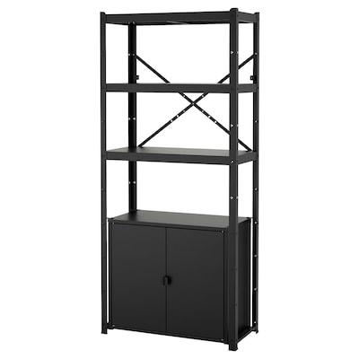 BROR Shelving unit with cabinet, black, 85x40x190 cm