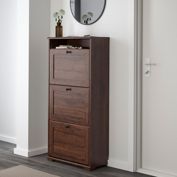 BRUSALI Shoe cabinet with 3 compartments, brown, 61x130 cm