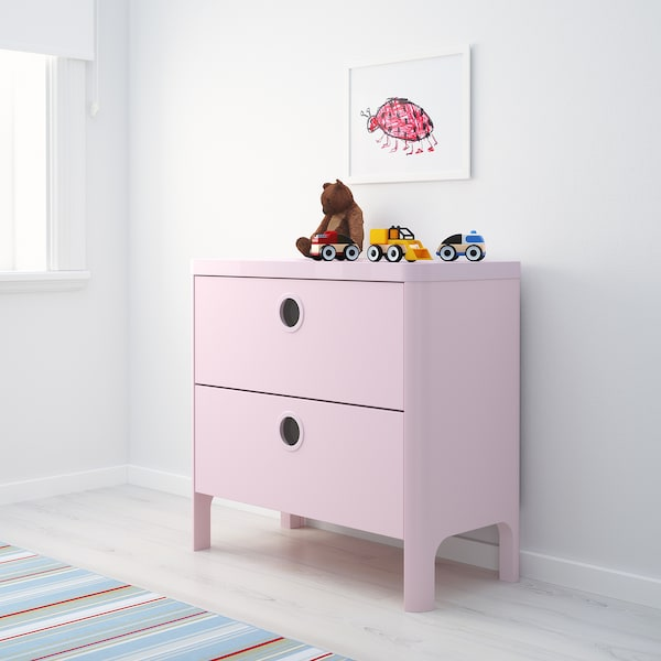 BUSUNGE Chest of 2 drawers, light pink, 80x75 cm