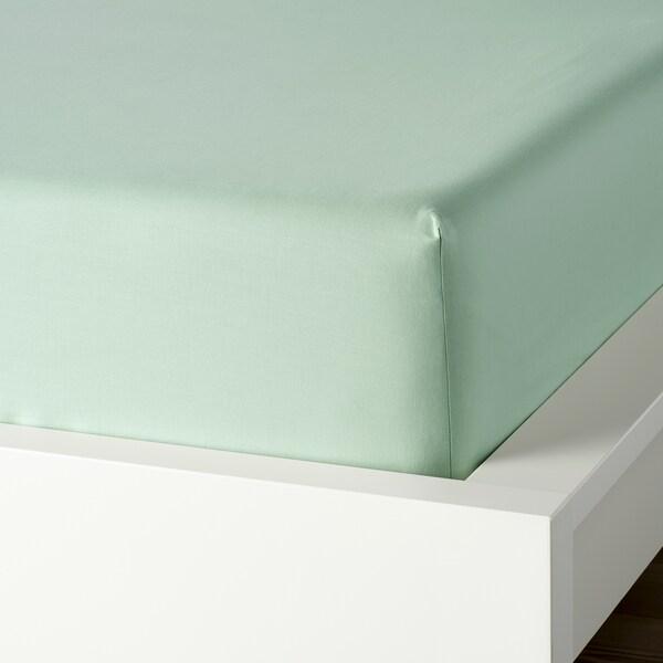 DVALA Fitted sheet, light green, King