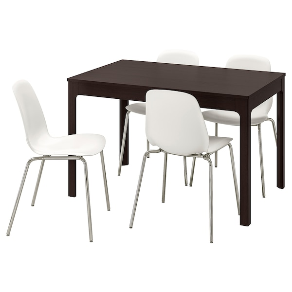 EKEDALEN / LEIFARNE Table and 4 chairs, dark brown/white, 120/180 cm