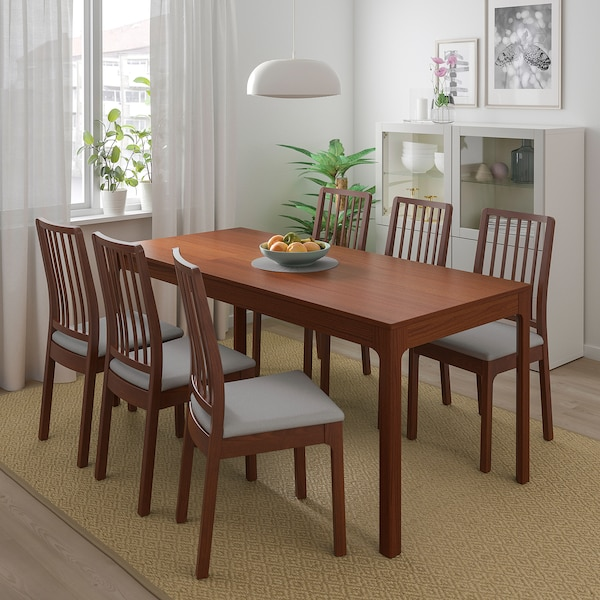 EKEDALEN / EKEDALEN Table and 4 chairs, brown/Orrsta light grey, 120/180 cm