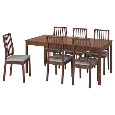 EKEDALEN / EKEDALEN Table and 6 chairs, brown/Orrsta light grey, 180/240 cm