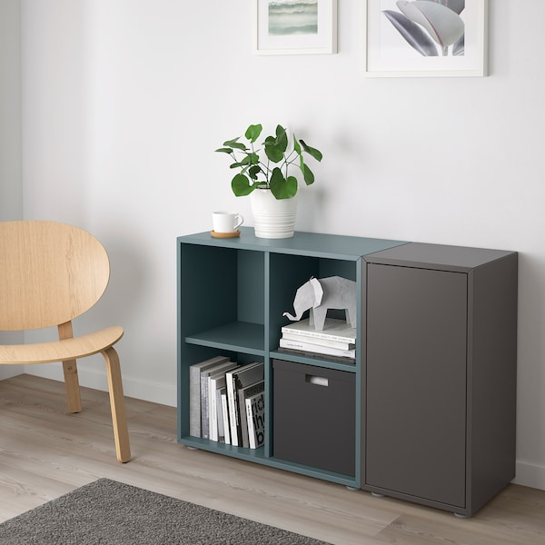 EKET Cabinet combination with feet, dark grey/grey-turquoise, 105x35x72 cm