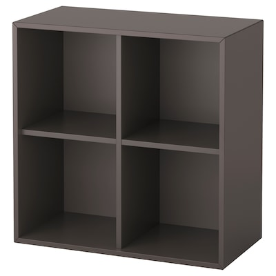 EKET Cabinet with 4 compartments, dark grey, 70x35x70 cm
