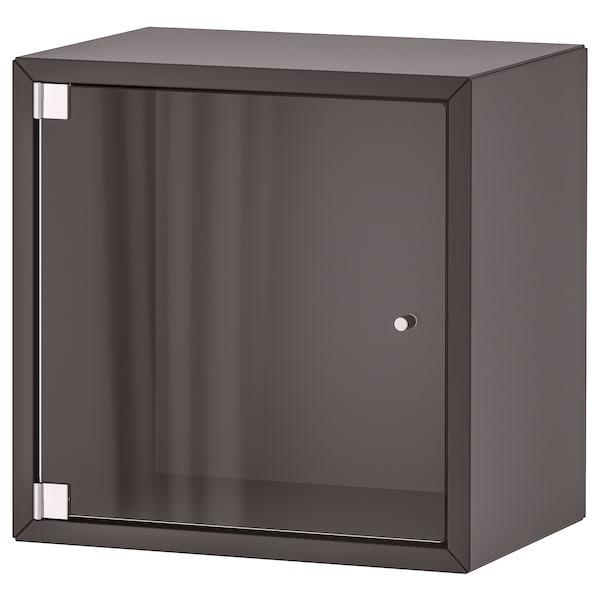 EKET Wall cabinet with glass door, dark grey, 35x25x35 cm