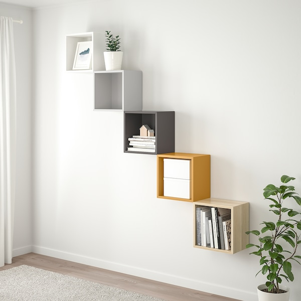 EKET Wall-mounted storage combination, multicolour 1, 70x25x175 cm