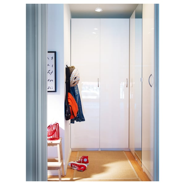 FARDAL Door with hinges, high-gloss white, 50x195 cm