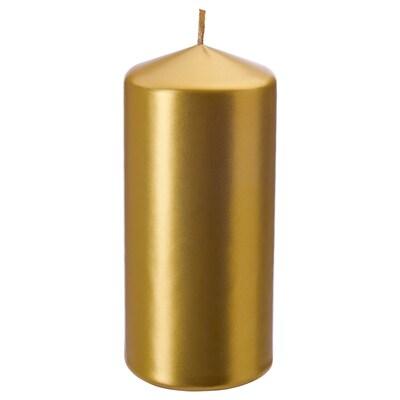 FENOMEN Unscented block candle, gold-colour, 14 cm