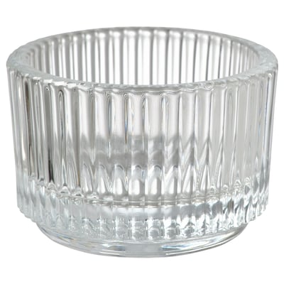 FINSMAK Tealight holder, clear glass, 3.5 cm