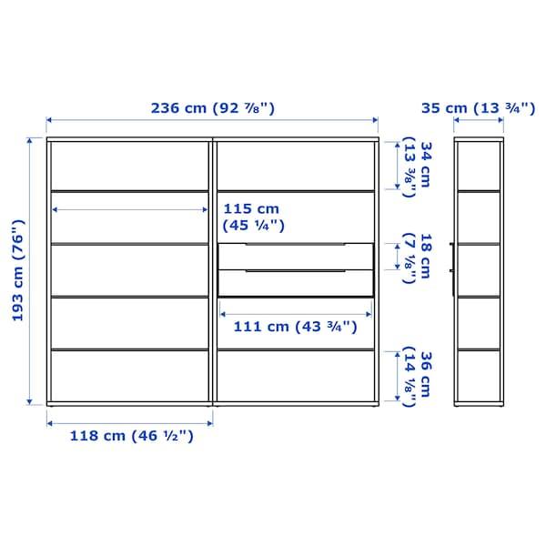 FJÄLKINGE Shelving unit with drawers, white, 236x35x193 cm