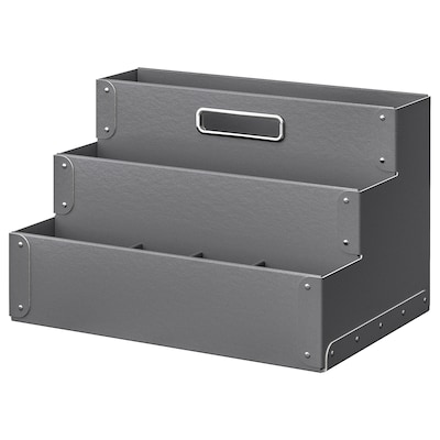 FJÄLLA Desk organiser, dark grey, 35x21 cm