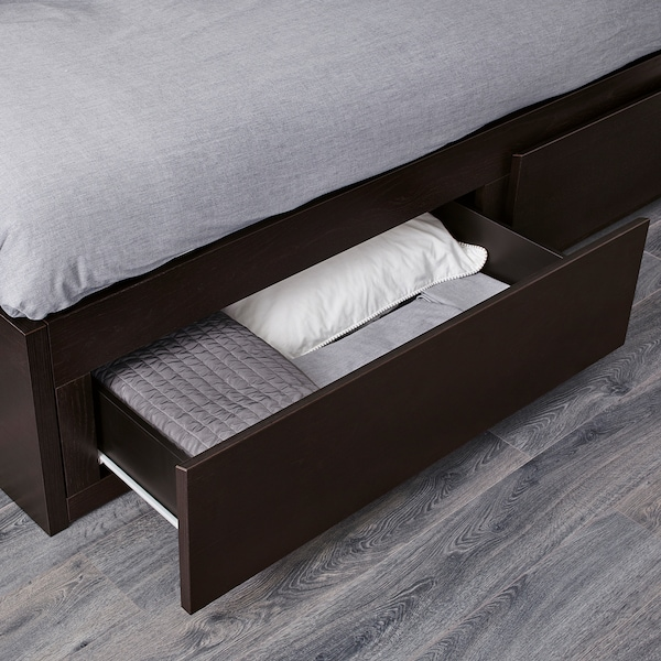 FLEKKE Day-bed w 2 drawers/2 mattresses, black-brown/Husvika firm, Twin