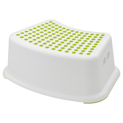 FÖRSIKTIG Children's stool, white/green