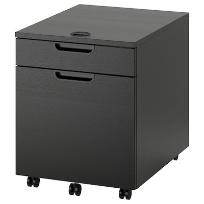 GALANT Drawer unit with drop-file storage, black stained ash veneer, 45x55 cm