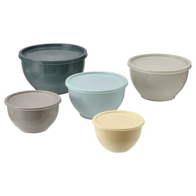 GARNITYREN Bowl with lid, set of 5, mixed colours