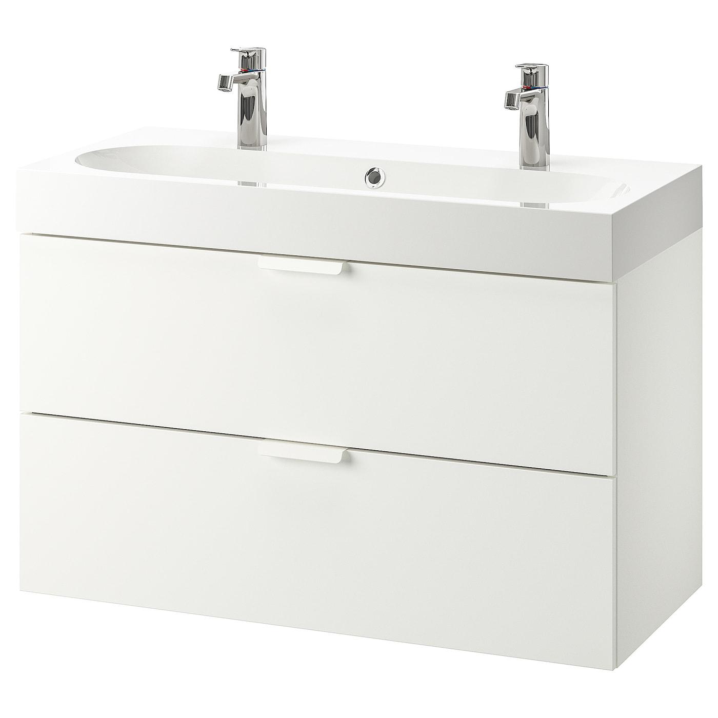 GODMORGON / BRÅVIKEN Wash-stand with 5 drawers - white/Brogrund tap  5x5x5 cm