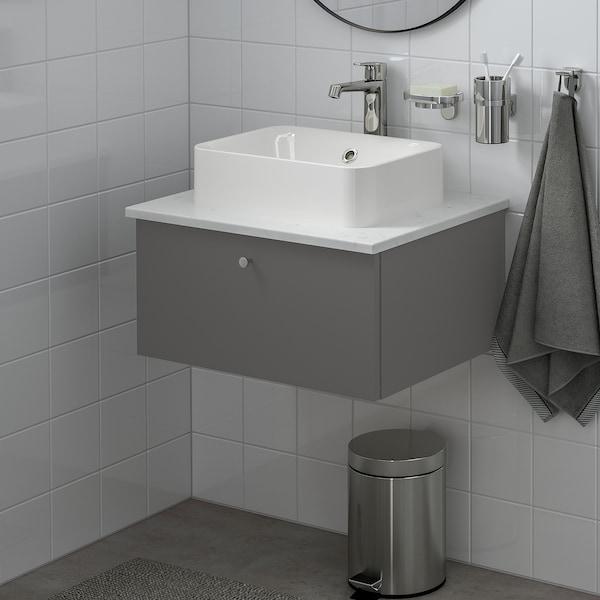 GODMORGON/TOLKEN / HÖRVIK Wsh-stnd w countrtop 45x32 wsh-bsn, Gillburen dark grey/marble effect Brogrund tap, 62x49x43 cm