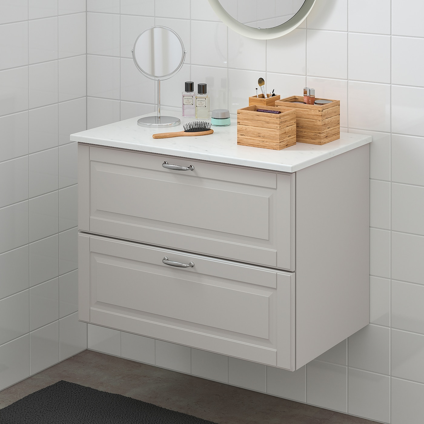 Godmorgon Tolken Wash Stand With 2 Drawers Kasjon Light Grey Marble Effect Ikea