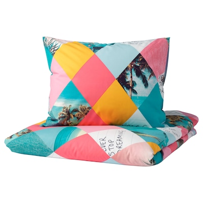 GRACIÖS Duvet cover and pillowcase, harlequin pattern, Twin