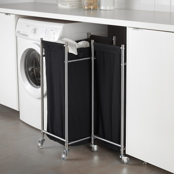 GRUNDTAL Laundry bag with castors, stainless steel/black, 70 l